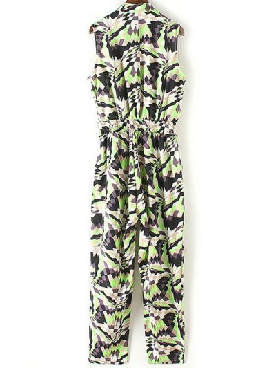 Geometric Pattern Stand Neck Sleeveless Jumpsuit - GREEN S Mobile