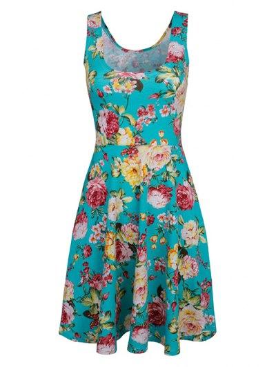 Sleeveless Chiffon Flroal Dress - LIGHT BLUE S Mobile