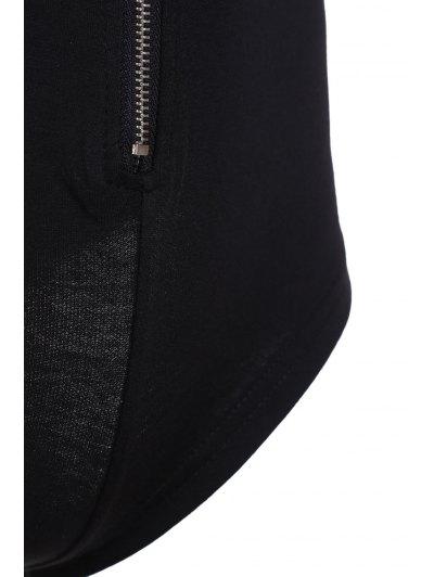 Black Zipper Plunging Neck Short Sleeve Bodysuit - BLACK S Mobile