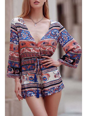 Ethnic Print Plunging Neck Long Sleeve Playsuit