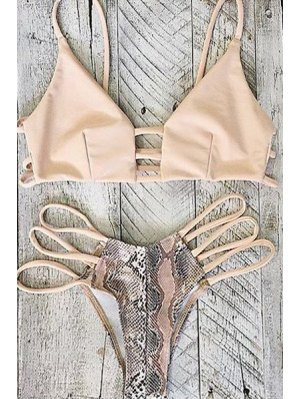 Printed Hollow Out Spaghetti Straps Bikini Set - Pink