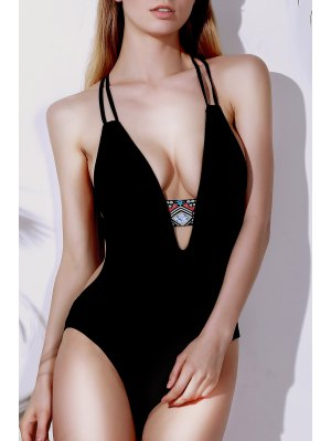 Printed Halter Cut Out One Piece Swimwear - Black