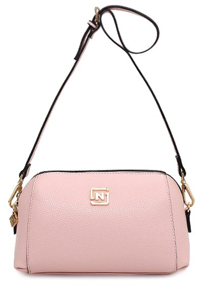 Solid Color Metal Letter Crossbody BagAccessories<br><br><br>Color: PINK