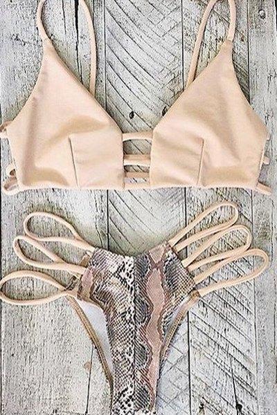 Spaghetti Straps Printed Hollow Out Bikini Set