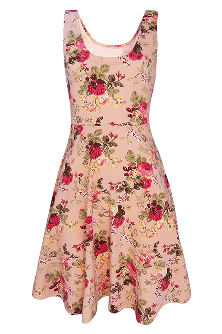 Sleeveless Flroal Print Chiffon Dress