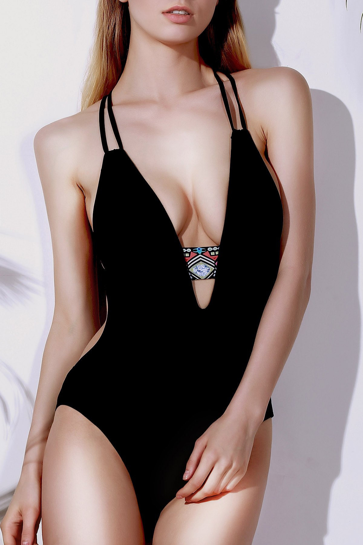 Halter Printed Cut Out One Piece Swimwear