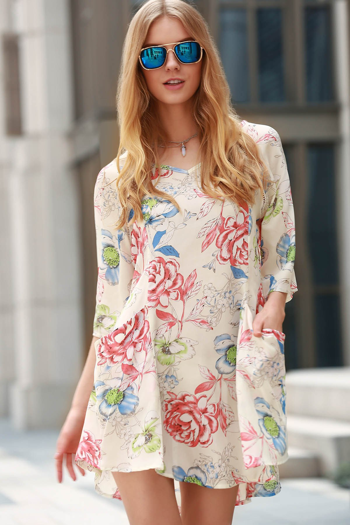 Round Collar 3/4 Sleeve Plus Size Floral Print Dress