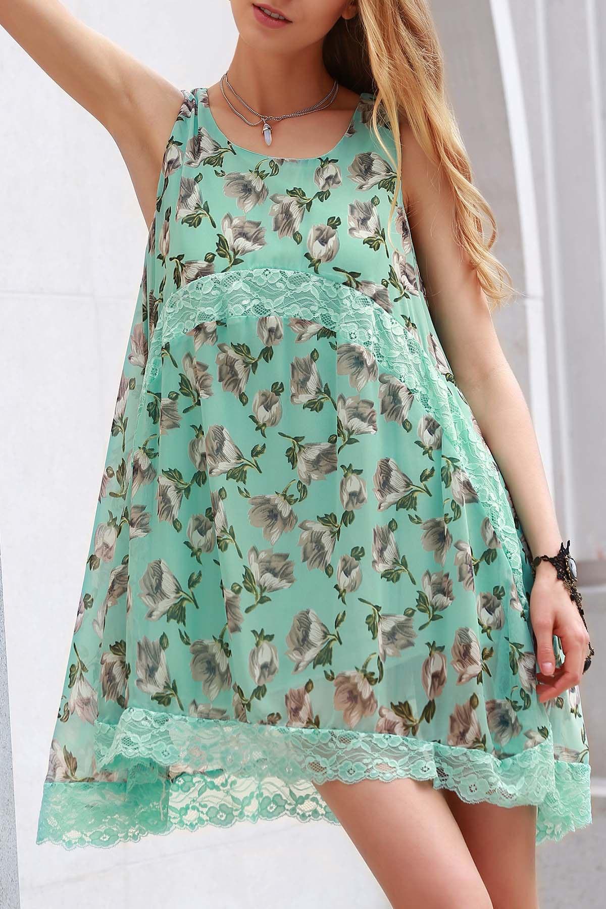 Straps Lace Spliced Tiny Flower Print Dress