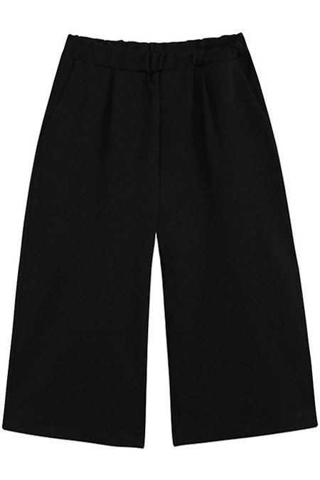 Elastic Waist Cropped Wide Leg Pants