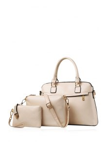 Buy Solid Color Zip PU Leather Tote Bag WHITE