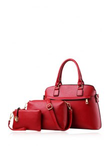 Buy Solid Color Zip PU Leather Tote Bag