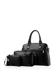 Buy Solid Color Zip PU Leather Tote Bag BLACK