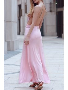Backless Spaghetti Straps Solid Color Maxi Dress