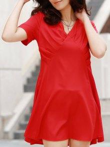 V-Neck Solid Color Swing Dress