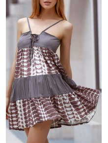 Printed Spaghetti Straps Lace Up Dress