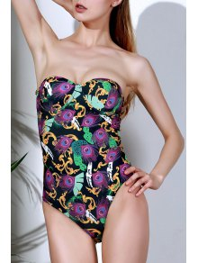 Printed Halter Lace Up One Piece Swimwear