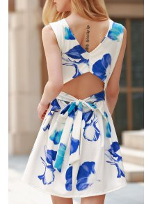 Cut Out Round Collar Flower Print Dress - Blue And White