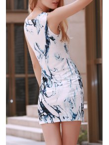 Digital Print Jewel Neck Sleeveless Dress