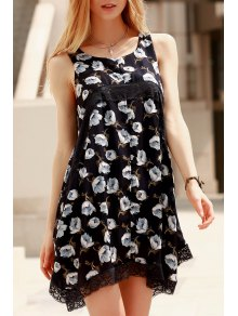 Lace Spliced Straps Plus Size Printed Dress