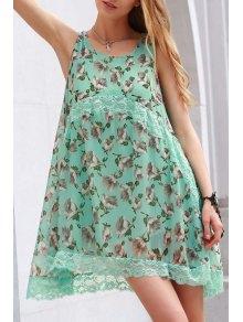 Lace Spliced Straps Tiny Flower Print Dress - Green