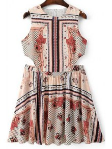 Vintage Print Round Neck Sleeveless Dress