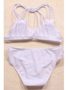 Solid Color Cut Out Halter Bikini Set - White L