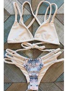 Handed Print Cut Out Straps Bikini Set - Shallow Pink