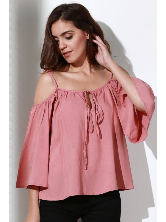 Flare Sleeve Loose Trapeze Top - PINK L Mobile