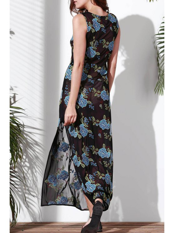 best Floral Embroidered Round Neck Sleeveless Dress - BLUE S