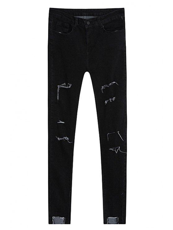 Cassé Trou Crayon Jeans - Noir L