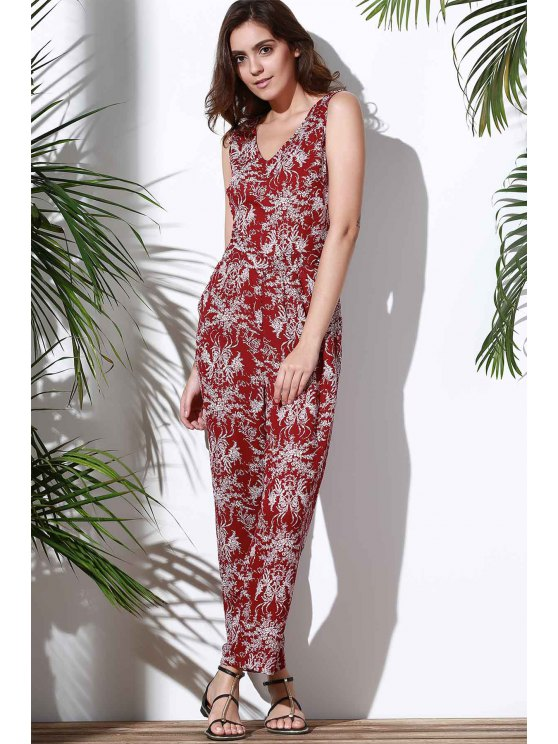 Floral V Neck Sleeveless Hollow Jumpsuit - RED L Mobile