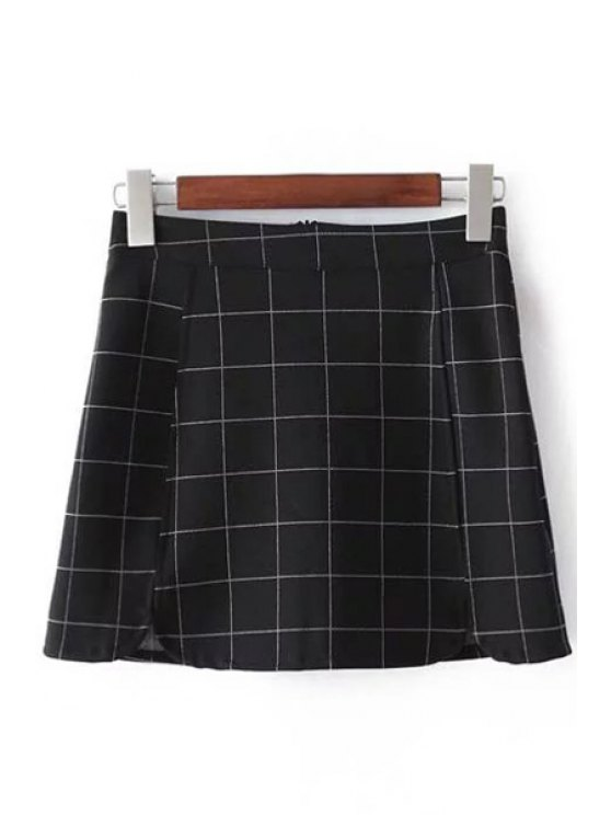 latest Plaid Print High Waist Mini Skirt - CHECKED M