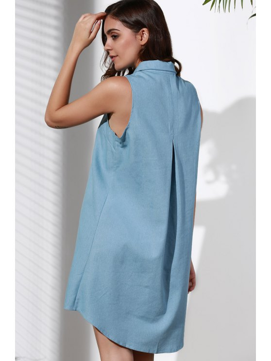 Sleeveless Button Design Flared Dress - BLUE 2XL Mobile