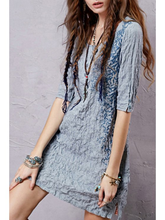 Half Sleeve Embroidered Crepe Dress - ICE BLUE S Mobile