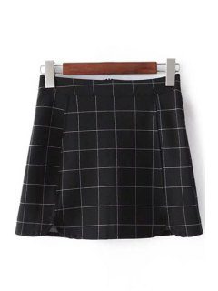 Plaid Print High Waist Mini Skirt - Checked L