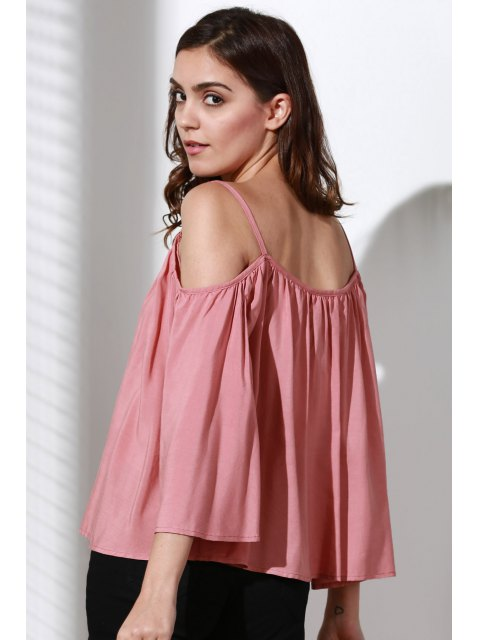 women Flare Sleeve Loose Trapeze Top - PINK M Mobile