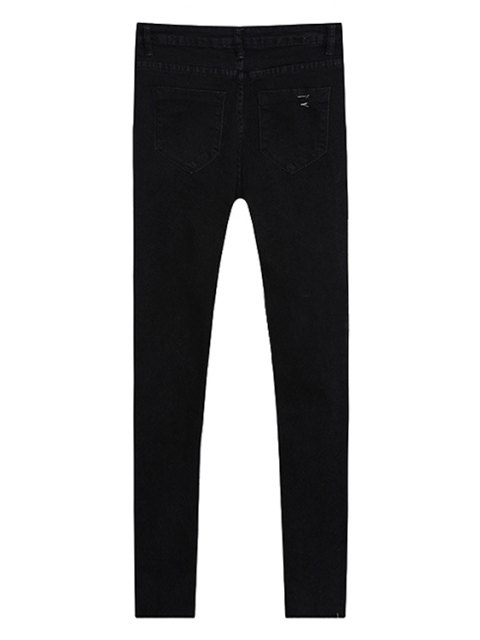 outfit Broken Hole Pencil Jeans - BLACK L Mobile