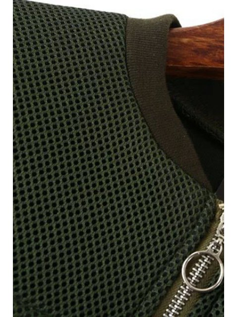 ladies Big Pocket Mesh Design Pilot Jacket - GREEN S Mobile