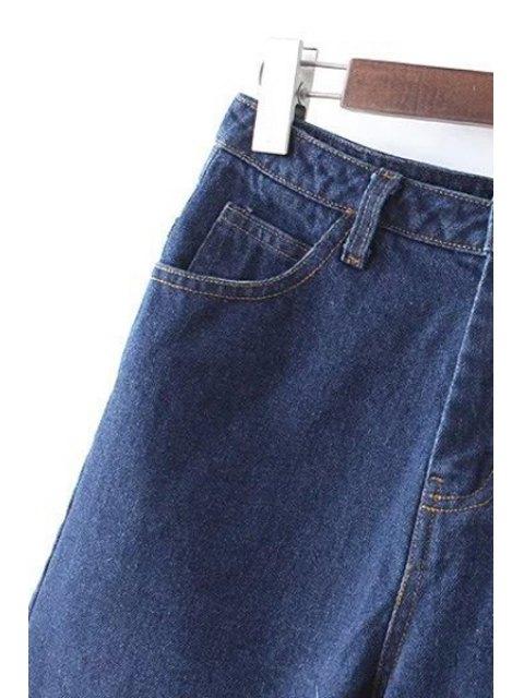 latest Frayed High Waist Denim Shorts - DEEP BLUE L Mobile