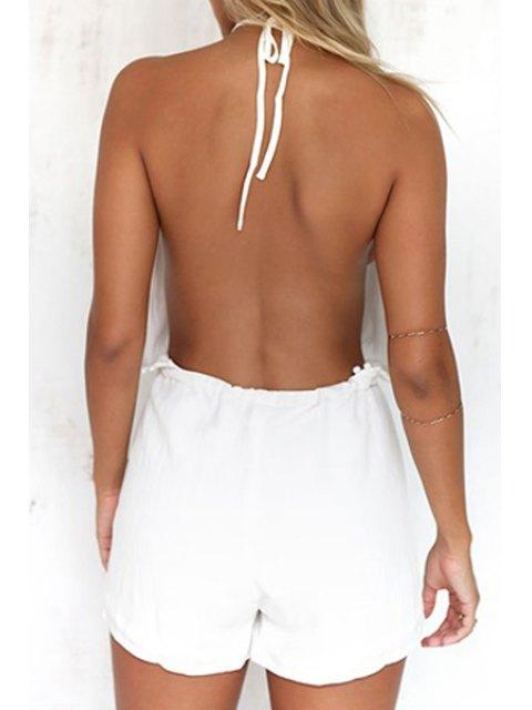 best Halterneck Backless White Romper - WHITE M Mobile