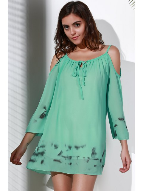 new Printed V-Neck Cut Out Chiffon Dress - LIGHT GREEN L Mobile