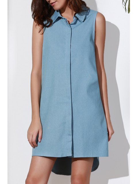 latest Sleeveless Button Design Flared Dress - BLUE 2XL Mobile