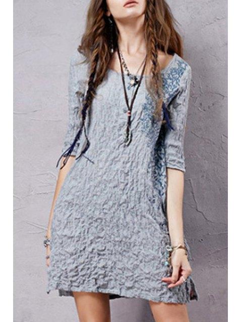 trendy Half Sleeve Embroidered Crepe Dress -   Mobile