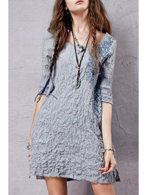 Half Sleeve Embroidered Crepe Dress - Ice Blue