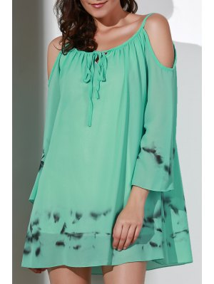 Printed V-Neck Cut Out Chiffon Dress - Light Green