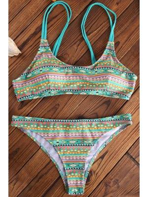 Geometric Print Spaghetti Straps Bikini Set - Green L