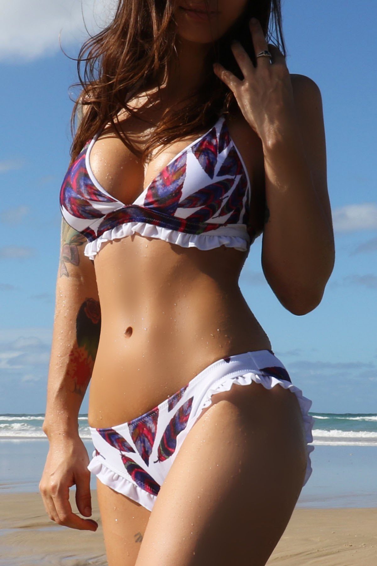 Low-Waisted Printed Bikini Set