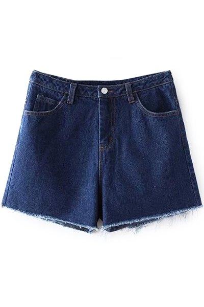 High Waist Deep Blue Denim Shorts