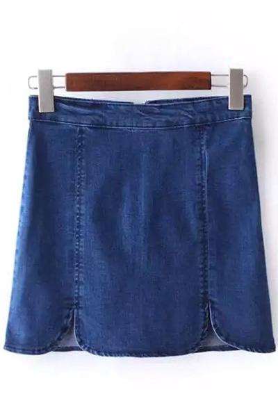 High Waist Solid Color Denim Mini Skirt