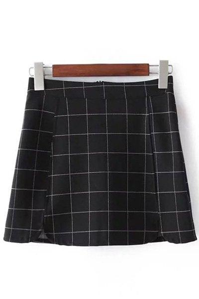 High Waist Plaid Print Mini Skirt